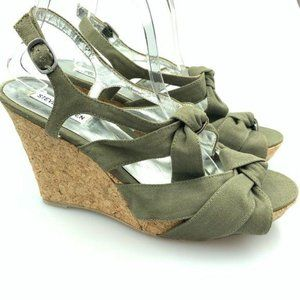 Steve Madden platform wedges 11 p-carrj army green